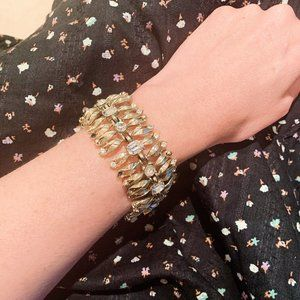 vintage oversize gold jeweled bracelet